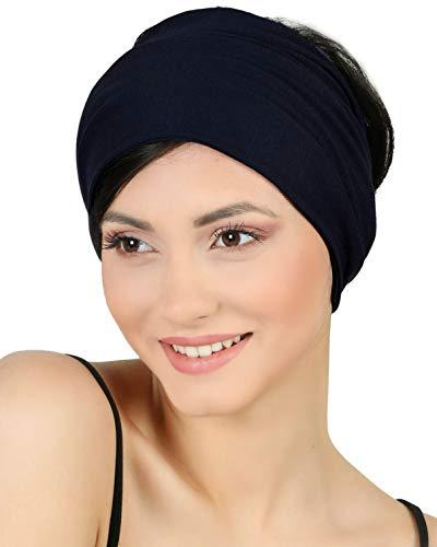 Baumwolle Stirnband für Dammen Frauen (Schwarz 2 Pieces)