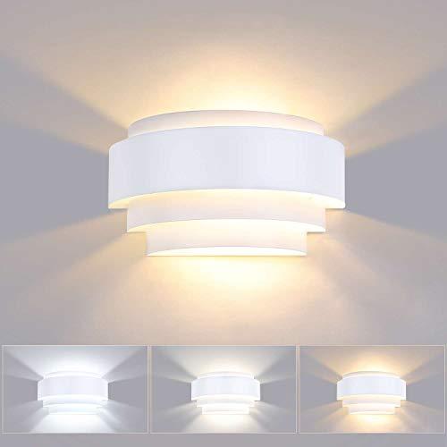 Lightess 12W Lámpara de Pared Regulable Interior Apliques de Pared LED Moderna Agradable Luz de Aluminio Incluye Bombilla E14 Iluminación para Sala, Dormitorio, Restaurante, Escaleras, Blanco