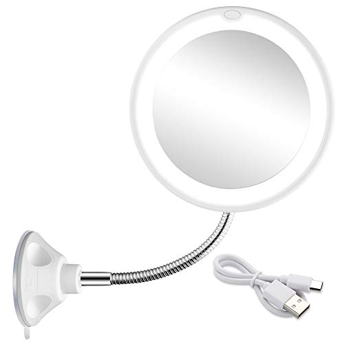 5X Magnifying Mirror with Light Makeup Mirror with Lights LED Lighted Makeup Mirror Vanity Mirror with Lights Flexible Gooseneck Mirror with Lights with Powerful Suction Cup