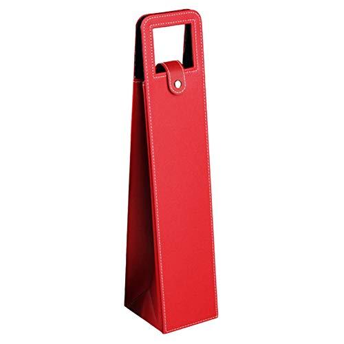 MNSYD Exklusive Leder-Wein-Einkaufstasche mit Griffen Stilvolle Weinflaschen-Verpackungstasche Klassisches Einzel-Weinflaschen-Geschenk für Reisen und Picknick nach Hause,rot