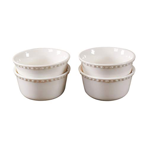 Set of 4 7oz Ramekins by CIROA   Porcelain Bowls for Baking, Souffles, Dips and Condiments