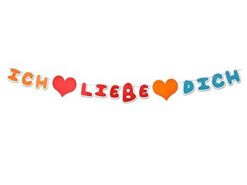 CoolChange Hochwertige Deko Girlande, Motiv: Ich Liebe Dich