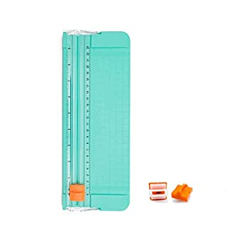 Paper Cutter A5 Paper Trimmer Titanium Scrapbooking Tool with Automatic Security Safeguard and Side Ruler for Scrapbooking Picture Cutting Label Design Photos,Comes with a replacement cutting blade
