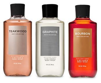 Bath and Body Works 3 Pack 2-in-1 Hair + Body Wash Teakwood, Graphite and Bourbon. 10 Oz.