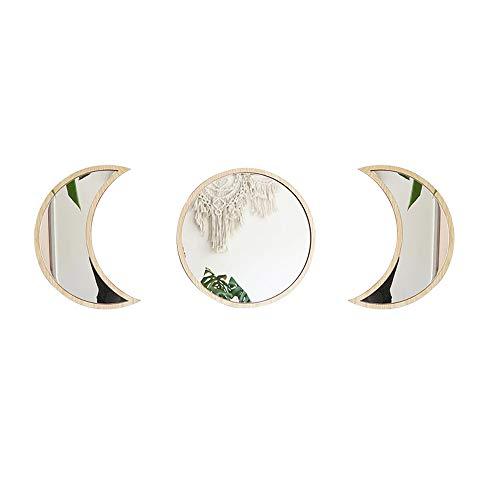 GJCrafts - Espejo de fase de luna para decoración natural de cristal fase de luna (3 paquetes), color blanco