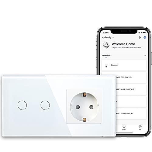 BSEED Presa Schuko normale con sensore di alimentazione WiFi Smart Alexa, interruttore (conduttore neutro) 16 A, presa di corrente in vetro, 2 prese, 1 via, lampada da parete bianca