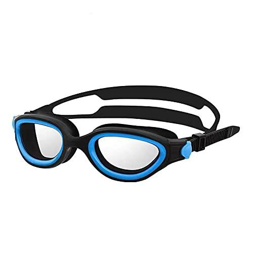 JFCXBSSL Gafas de natación de silicona azul gafas de natación impermeables y antivaho masculino femenino adulto Hd cómodo natación gafas marco grande