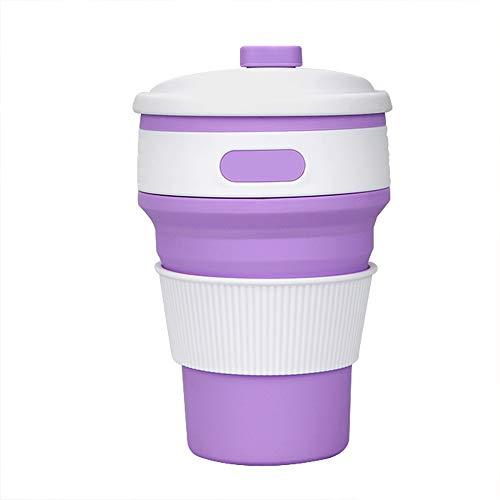KYSM Creative Nouveau Tasse de café Pliante en Silicone Tasse Portable rétractable 350ml Violet