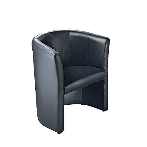 Fauteuil club - habillage en cuir - noir - siège visiteurs pour réception accueil entrée - élégance et confort