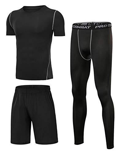 Sykooria 3 Pezzi Completi Sportivi Abbigliamento Uomo,Maglie Corta Compressione,Pantaloni a Compressione,Pantaloncini da Corsa,Tuta Set per Fitness, Jogging, Palestra, Ciclismo - Nero XL