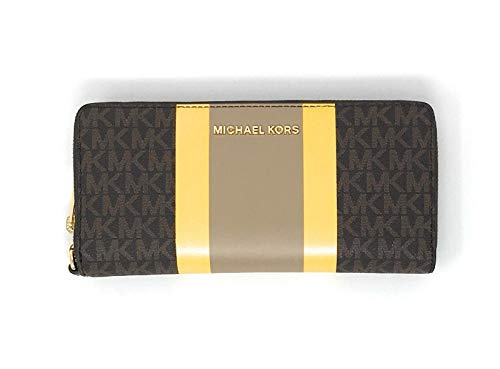 Michael Kors Jet Set Travel Continental Zip Around Leather Wallet Wristlet (Brown Multi)