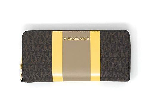 Michael Kors Jet Set Travel Continental Zip Around Leather Wallet Wristlet (Brown Multi)
