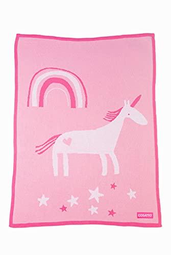 Cosatto Kinderwagendecke für Kinderwagen, Einhorn-Land, gekämmte Baumwolle, gestrickt, Geschenk für Neugeborene