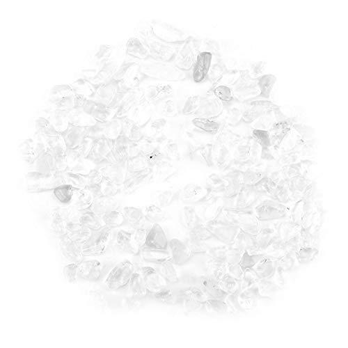 Pequeñas fichas de Piedra caídas de Cristal trituradas Piezas de Cuarzo de Cristal Natural para la curación de la decoración de la Maceta de la pecera casera(Blanco)