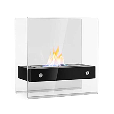 oneConcept Phantasma Glassy Ethanol Fireplace - Smokeless & Odourless Stainless Steel Bio-Ethanol Burner, 1.3L Tank, Approx. 4 Hours Burn Time, Extinguishing Help, Stainless Steel, Glass, Black