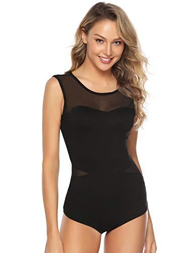 Abollria Damen Bodysuit Weich Stretch Ärmellos Body mit Transparente Teile Luftig Rundhals Shirtbody Top für Sommer,Schwarz,M