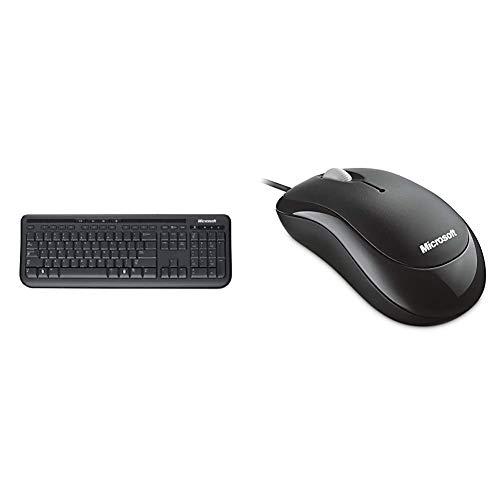 Microsoft Wired Desktop 600 (Set mit Maus und Tastatur, deutsches QWERTZ Tastaturlayout, schwarz) & Basic Optical Mouse (Maus, schwarz, kabelgebunden, für Rechts- und Linkshänder geeignet)