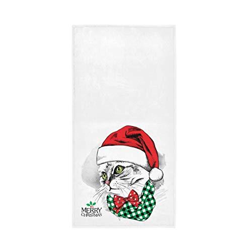 RURUTONG 1 toalla de mano de gato de Navidad suave de secado rápido toalla de baño para cocina, natación, spa, gimnasio, decoración de 76,2 x 38,1 cm, bonito patrón de animales 2010069