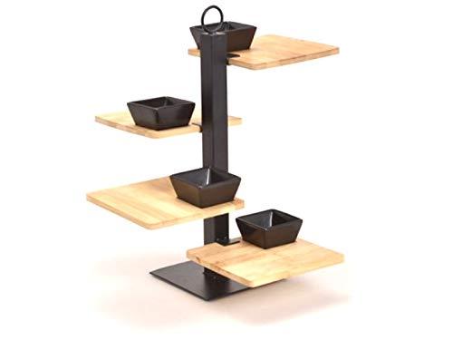 meindekoartikel Moderen Etagere - Apero Set mit 4 Böden aus Bambus, Metall und Keramik 5-teilig (schwarz Natur) Breite 32cm x Höhe 35cm x Tiefe 32cm