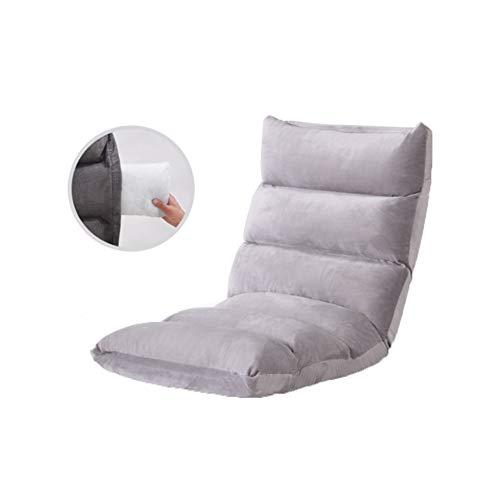 ZHWNGXO Roter Bodensitz mit verstellbarer Rückenlehne, niedriger Klappstuhl, ideal als gepolsterter TV-Bodenstuhl, Gaming-Stuhl, Meditationsstuhl, Farbe: Grau