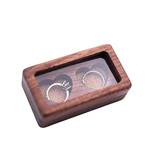 Caja de Anillo de Madera Soporte de Anillo de Boda de propuesta de joyero de Doble corazón