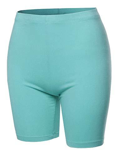 Basic Solid Cotton Mid Thigh High Rise Biker Bermuda Shorts Ash Mint 3XL