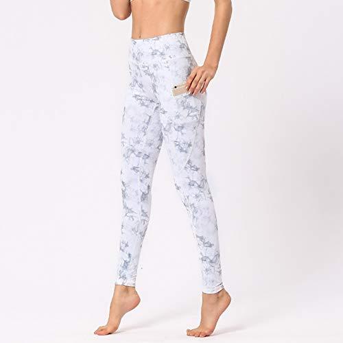 Pantalones De Yoga para Mujeres, Leggings De Cintura Alta con Bolsillos Control De Barriga Estiramiento En 4 Direcciones Mallas para Correr De Yoga,A,XL