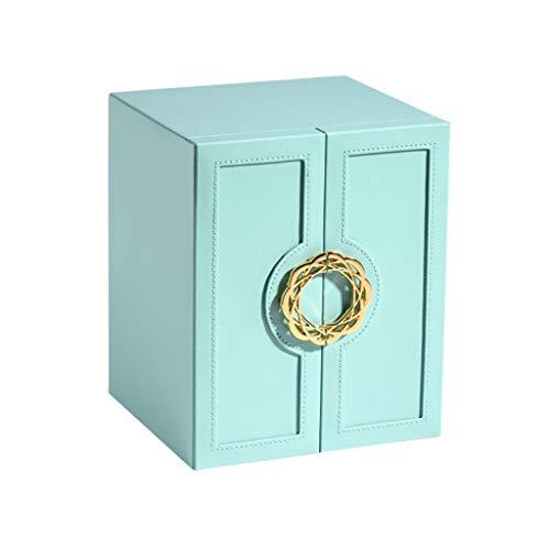 WNDRZ Nueva Caja De Joyería De Doble Capa, Caja Multifunción, Anillo De Reloj, Pendiente, Collar, Almacenamiento, Organizador De Joyas Portátil, Soporte para Mujeres (Color : Blue)