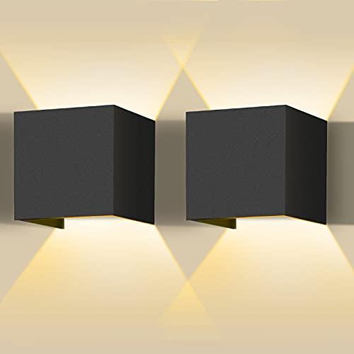 Sooair Lampada da parete a LED, 2 pezzi, 12 W, lampada da parete a LED per esterni, dimmerabile, IP65, luce bianca calda, illuminazione da parete moderna con angolo di diffusione regolabile