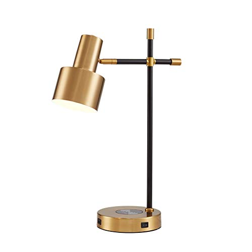 Quality Bedside Lamp USB Table Lamp Bedside Lamps Wireless Charger Small Nightstand Lamps Bedroom Living Room Home Office nightstand Lamps (Color : Gold)