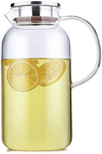 Jarra de cristal con tapa de acero inoxidable y boquilla de alta capacidad con asa para vino tinto, zumo, leche, hielo, agua fría, café caliente, taza de té de 1,8 L/2,0 L (tamaño : 1,8 L)