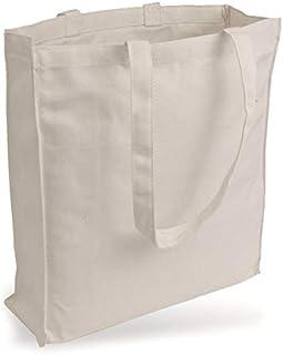 16247b60b5 Cottonbagjoe Sac jute sac en toile semblable au tissu jeans (très solide et  résistante) sans impression avec fond et côtés à soufflet et deux longues  anses ...