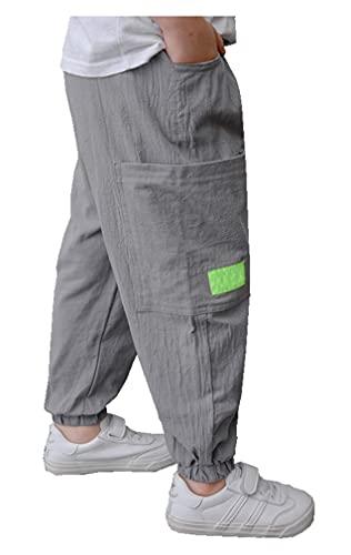 CYSTYLE Kinder Jungen Mädchen Leinenhose Stoffhose Baumwolle Hose Jogginghose Freizeithose Sweathosen Sporthose (Grau 2, 110)