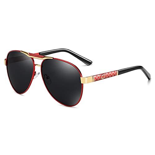 SKJH Gafas de Sol polarizadas para Deportes Gafas de Sol de conducción al Aire Libre Hombres Piloto Gafas de Sol con Montura metálica