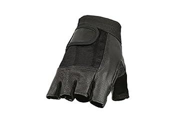 Shaf International Men s Fingerless Gloves  Black Small   Spandex And Leather G