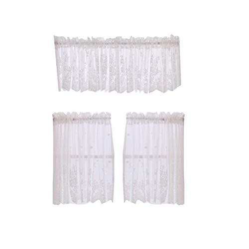 Lioobo - Cortina corta de encaje decorativa, semiperforada, tratamiento para cocina, balcón, casa, poliéster, blanco, talla 2