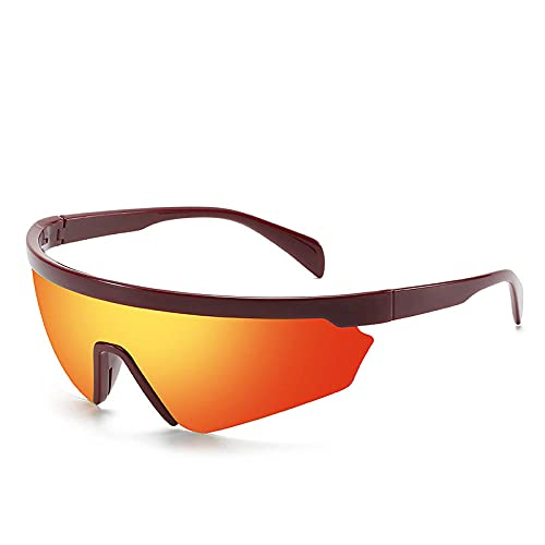 Powzz ornament Gafas de sol polarizadas de lujo para hombre Gafas de sol masculinas de alta calidad de una pieza Gafas de sol de conducción de gran tamaño Gafas UV400-C3Mirrorred_Universal