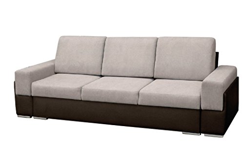 mb-moebel Couch mit Schlaffunktion Sofa Schlafsofa Wohnzimmercouch Bettsofa Ausziehbar Bruno (Beige)