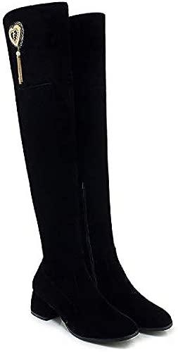 Pumps Sexy Schwarze Overknee-Stiefel mit hohem Absatz, schwarz, 35