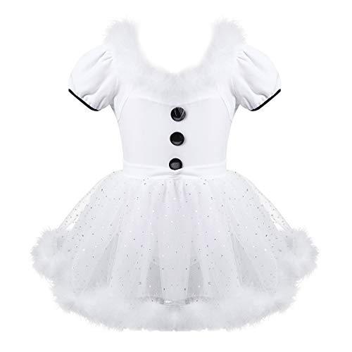 CHICTRY Vestido de Ballet Maillot Navidad de Danza Vestido Cisne niña Gimnasia Tul Leotardo Lentejuela Falda con Baraga Blanco 10 años