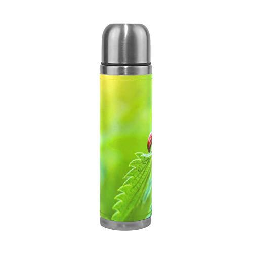 BKEOY Mug de voyage isotherme en acier inoxydable à double paroi anti-fuite avec motif coccinelle et feuille verte imprimée personnalisée en cuir véritable 500 ml