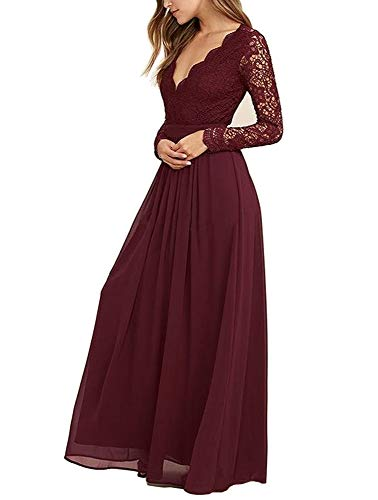 Mathena Women's Long Sleeve Open Back Lace Bridesmaid Dresses Prom Evening Gowns Burgundy US10 (Apparel)