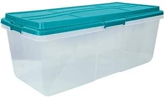 Hefty 113-Qt Hi-Rise Clear Latch Box, Teal Sachet Lid and Handles