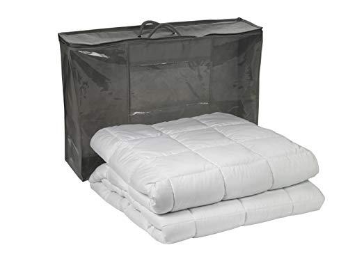 sleepling 197398 Gewichtsdecke 4 kg, Entspannungsdecke gegen Stress und Schlafstörungen als Kassettendecke mit Glasperlenfüllung, 135 x 200 cm, weiß