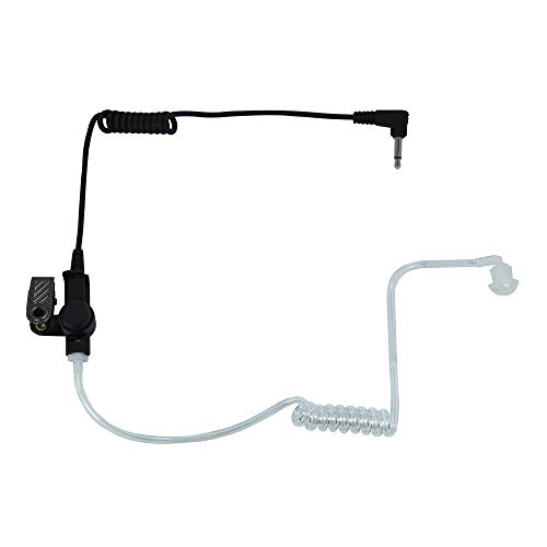 MaximalPower 3.5mm Receiver/Listen ONLY Surveillance Headset Earpiece with Clear Acoustic Coil Tube Earbud Audio Kit for Two-Way Radios (10 Pack, Regular Cord)