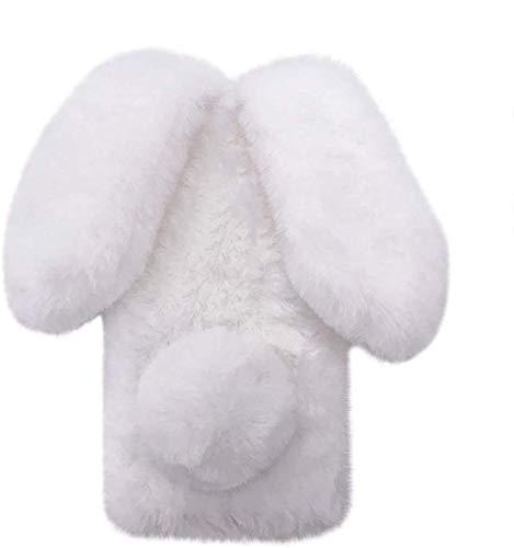 Xifanzi Hülle für Xiaomi Poco M3 Plüsch Hase Kaninchen Handyhülle Schutzhülle Niedlich Pelzigen Hase Hasenohren Fell Weich Warm Flauschige Schale Etui Tasche Case für Xiaomi Poco M3, Weiß