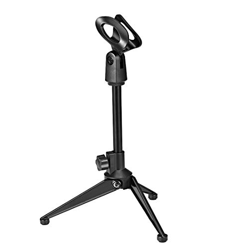 Lowest Prices! uxcell Adjustable Desktop Microphone Stand Tripod Foldable Tabletop Stand Holder with Mic Clip