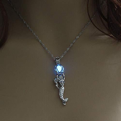 Anoauit Moda y Personalidad versátil Resplandor en el Colgante Pendiente Oscuro Collar Luminoso Multicolor, Cadena de clavícula Accesorios Colgantes, Cielo Azul