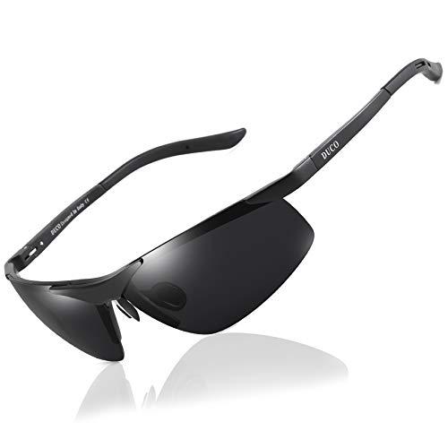 DUCO Sport Stil Sonnenbrille Polarisiert Herren Treiber Brille 6806S (Schwarz/Grau)