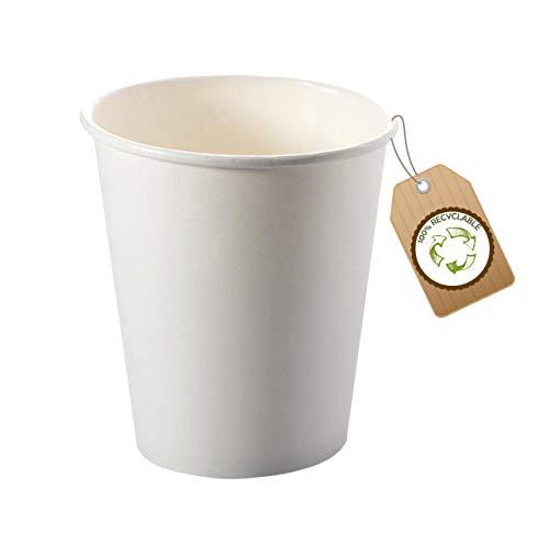 cubex professional ® Kit de 500 vasos reciclables de cartón blanco de 180 ml para café, agua o bebidas calientes y frías